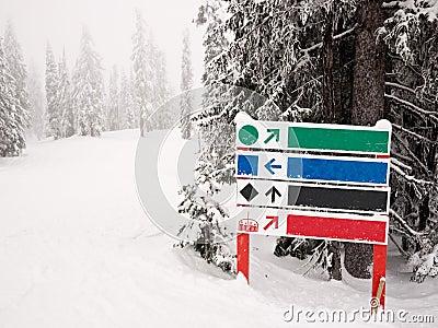 Ski run sign