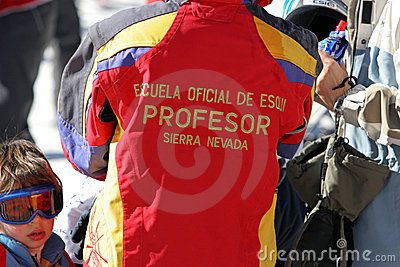 Ski school instructor in the Sierra Nevada resort in Southern Sp