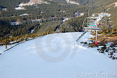 Ski slope and cable lift