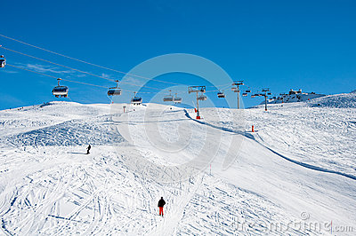 Ski slope with Gornergrat station in background Editorial Image