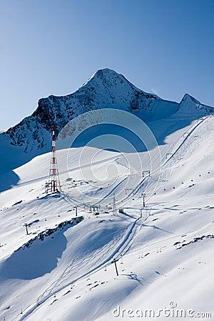Ski slope in high alps