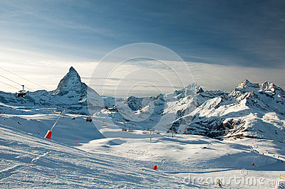 Ski slope with Matterhorn as background