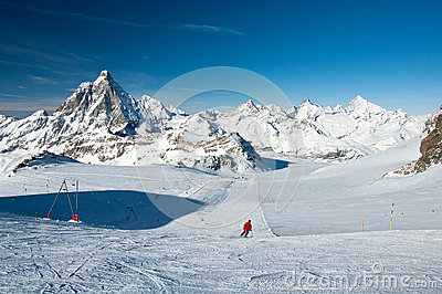 Ski slope on the Matterhorn Glacier