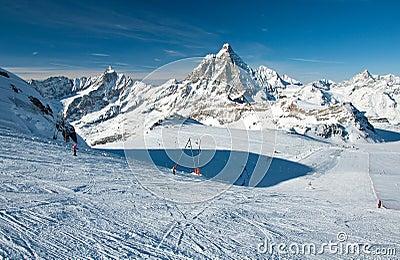 Ski slope on Matterhorn glacier