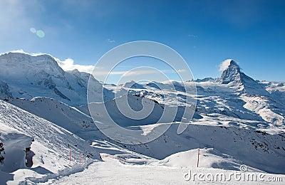 Ski slope in swiss Alps