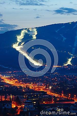 Free Ski Slopes Above City Stock Photo - 44434020