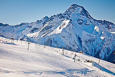 Ski slopes in French Alps