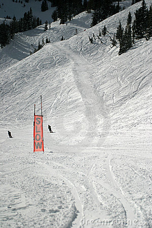 Free Ski Slow Skiers Sign Stock Photography - 660132