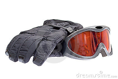 Ski snowboard goggles with gloves isolated