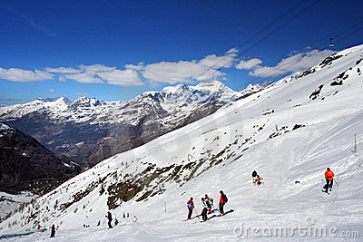 On the ski-track in Alps