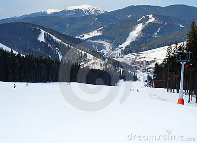 Ski track of Bukovel resort