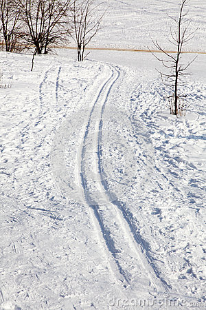 Ski-track in the snow