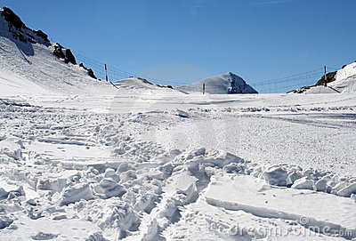 Ski tracks in Alpine snow