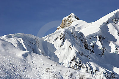 Ski tracks on mountainside