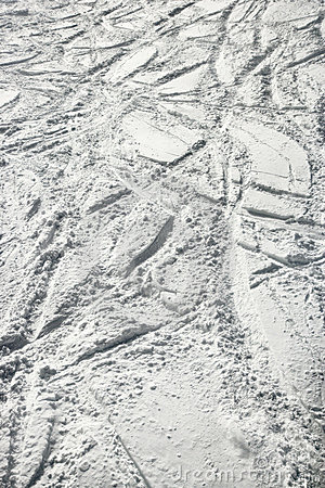 Ski tracks in snow.