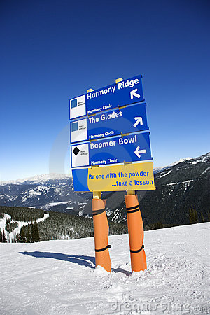 Ski trail direction signs.