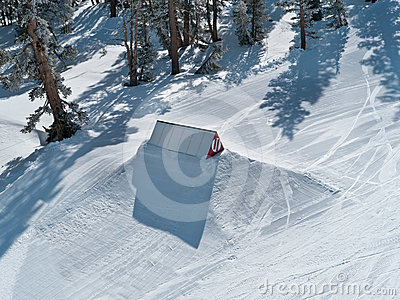 Ski trampoline at a terrain park
