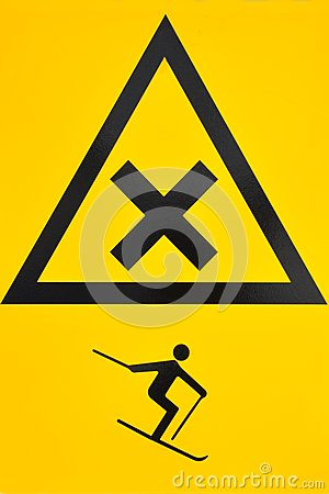 Ski warning sign