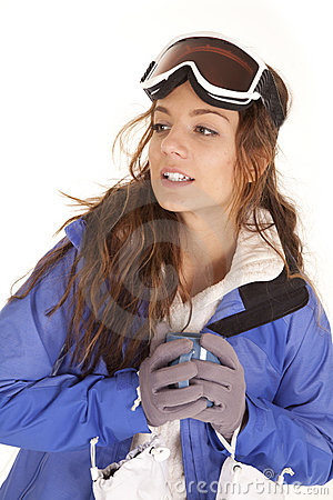 Ski woman mug looking side