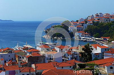 Skiathos port and city, Greece