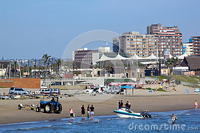 Skiboat Club and Beachfront in Durban South Africa Editorial Stock Photo