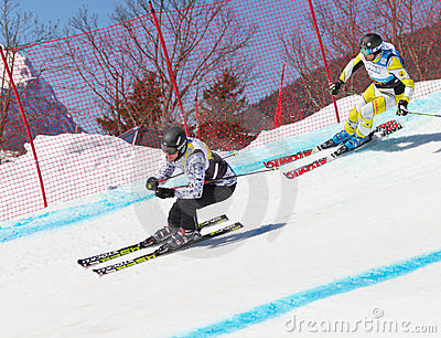 Skicross racer Wordcup in Switzerland Editorial Stock Photo
