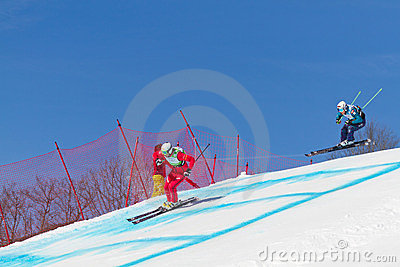 Skicross racer Wordcup in Switzerland Editorial Image