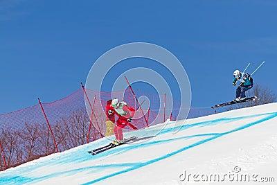 Skicross racer Wordcup in Switzerland Editorial Image
