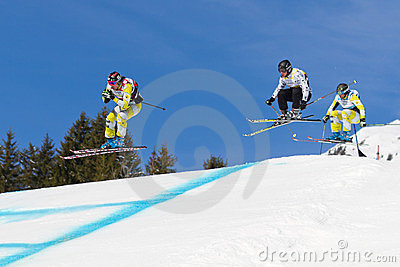 Skicross Racer Wordcup In Switzerland Stock Image - Image: 23825371