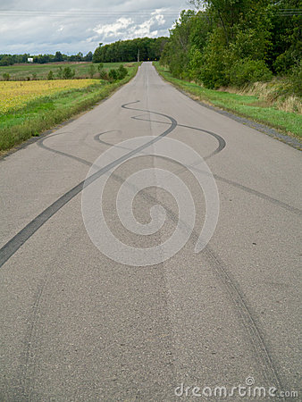 Skid marks on road