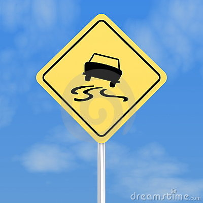 Skidding car road sign