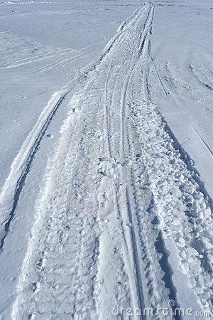 Free Skidoo Track In The Snow Stock Photo - 2191930
