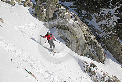 Skier in the couloir
