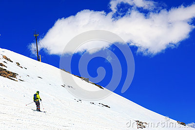 A skier descending Mount Elbrus - peak in Europe.