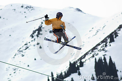 Skier extreme fly Editorial Stock Photo