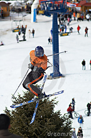 Skier extreme fly Editorial Image