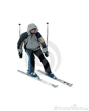 Skier isolated on white