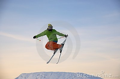 Skier is jumping