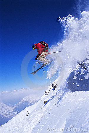 Free Skier Jumping Stock Image - 6077201