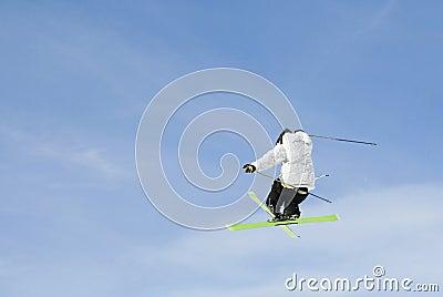 Skier jumping midair