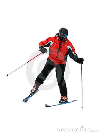 Skier man isolated on white