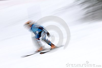 Skier man in motion