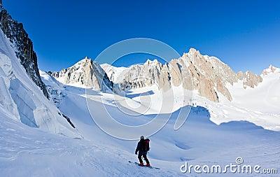 Skier in Mont Blanc Massif