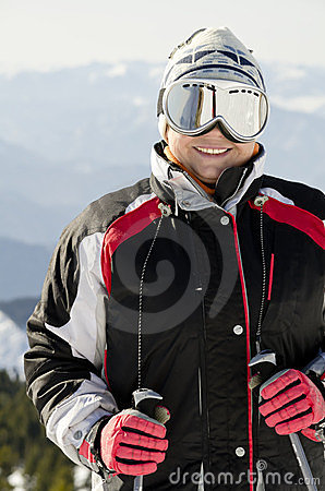 Skier on the mountain top
