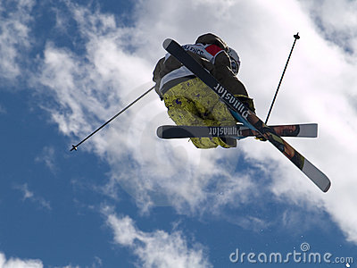 Skier performing half pipe Editorial Photo