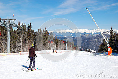 Skier rides on a slope in Jasna Low Tatras Editorial Stock Photo