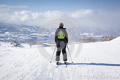 Skier Sets off Down a Piste in Niseko, Japan
