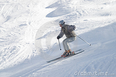 Skier with ski pole on snow