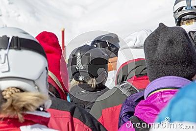 Skier standing in line