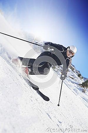 Man skiing on Swiss slopes